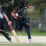 Isa Guha bowling during the match between England and New Zealand in the Super 6 stage of the ICC Women's World Cup Cricket match at Bankstown Oval, Sydney, Australia on March 14 2009, England won the match by 31 runs. Photo Tim Clayton