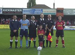 CAPTAINS OFFICIALS MASCOT LINE UP  Kettering Town v Northwich Victoria Rockingham Road   21st September 2002
