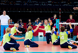 Sasa Kotnik of Slovenia celebrates during 5th - 8th place sitting volleyball match between National teams of Slovenia and Japan during Day 7 of the Summer Paralympic Games London 2012 on September 4, 2012, in ExCel Exhibition centre, London, Great Britain. Slovenia defeated Japan 3-0. (Photo by Vid Ponikvar / Sportida.com)