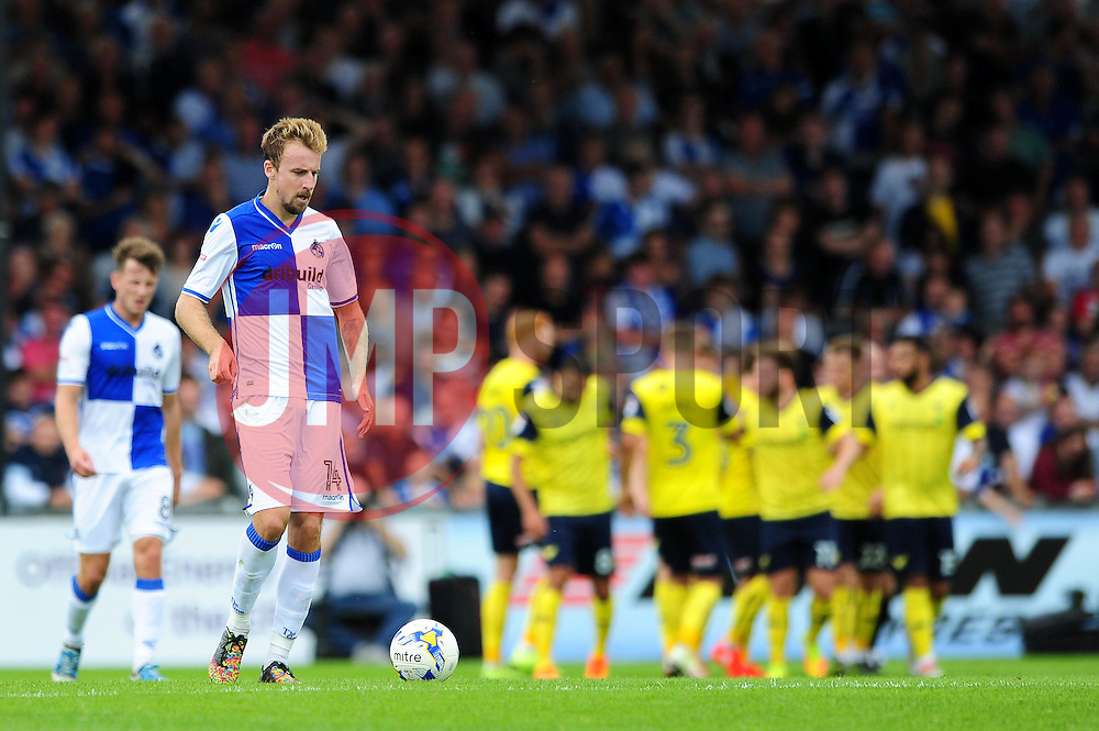 James Clarke of Bristol Rovers cuts a dejected figure as Oxford United score to make it 1-1 - Mandatory by-line: Dougie Allward/JMP - 14/08/2016 - FOOTBALL - Memorial Stadium - Bristol, England - Bristol Rovers v Oxford United - Sky Bet League One