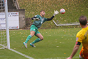 Halifax Town goalkeeper, on loan from Everton, Russell Griffiths saves during the The FA Cup match between FC Halifax Town and Wycombe Wanderers at the Shay, Halifax, United Kingdom on 8 November 2015. Photo by Simon Davies.