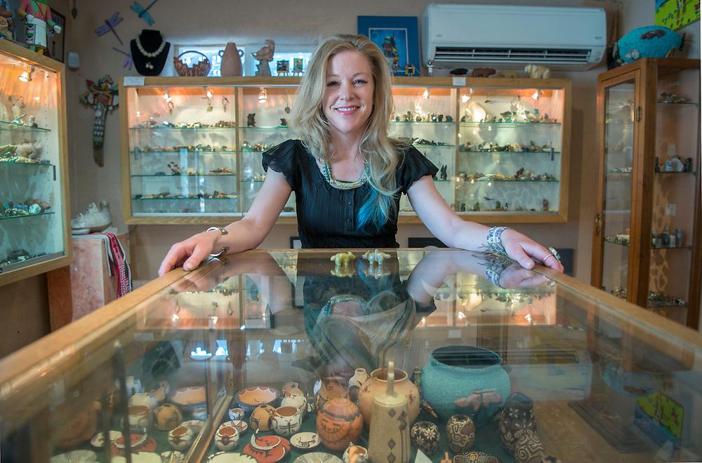 em060817d/arts/Bronwyn Fox is the owner of Keshi gallery in Santa Fe, Thursday June 8, 2017.  (Eddie Moore/Albuquerque Journal)