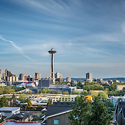 View of Space Needle from Queen Anne hill, Seattle WA. Photo by Alabastro Photography.