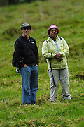 Ecuador, May 1 2010: Paul Bustos (Andesconexion) and Lorna Brooks near the Condor Huasi at Hacienda Zuleta. Copyright 2010 Peter Horrell