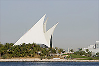Dubai, UAE, white sails of Dubai Creek Golf & Yacht Club in Deira