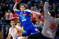Kiril Lazarov of FYR Macedonia, Sebastian Skube of Slovenia and Borko Ristovski of FYR Macedonia during handball match between Slovenia and F.Y.R. Macedonia for 5th place at 10th EHF European Handball Championship Serbia 2012, on January 27, 2012 in Beogradska Arena, Belgrade, Serbia.  Macedonia defeated Slovenia 28-27.  (Photo By Vid Ponikvar / Sportida.com)