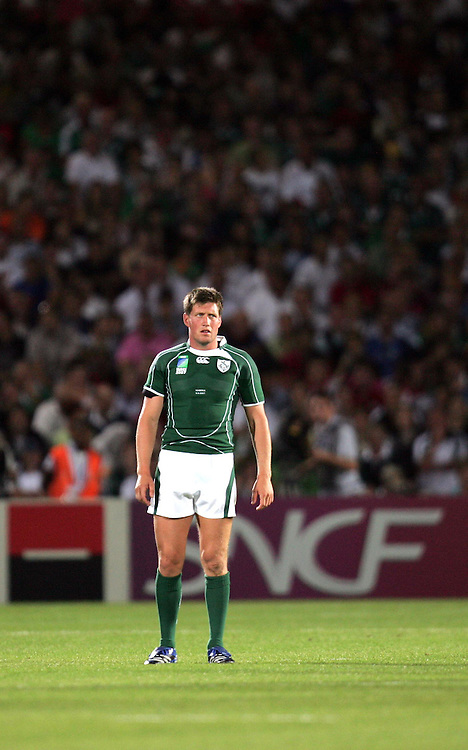 Ronan O'Gara during the rugby union World Cup match Ireland vs Namibia, 09 September 2007 at the Chaban-Delmas stadium in Bordeaux, southwestern France.