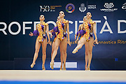 "Belarus Senior Group during the ""1st Trofeo Citta di Monza"". On this occasion we have seen the rhythmic gymnastics teams of Belarus and Italy challenge each other. The Bilateral period was only June 9, 2019 at the Candy Arena in Monza, Italy."