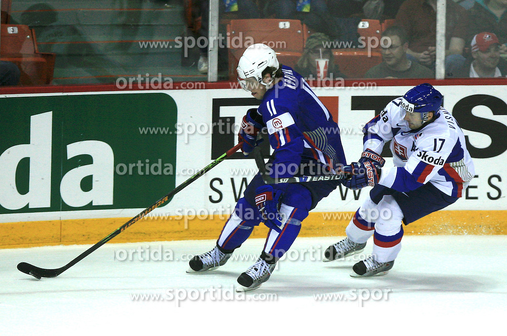 Anze Kopitar of Slovenia vs his teammate Lubomir Visnovsky of Slovakia at ice-hockey game Slovenia vs Slovakia at second game in  Relegation  Round (group G) of IIHF WC 2008 in Halifax, on May 10, 2008 in Metro Center, Halifax, Nova Scotia, Canada. Slovakia won after penalty shots 4:3.  (Photo by Vid Ponikvar / Sportal Images)