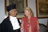 Roma July 8 2008.Bangladeshi banker and 2006 Nobel peace prize laureate Muhammad Yunus poses with a giant diploma after receiving a Doctor Honoris Causa title from Sapienza University in Rome. .Muhammad Yunus with Margherita Agnelli