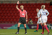 Graziella Pirriatore (Referee) indicates that the goal has been disallowed during the International Friendly match between England Women and France Women at the Keepmoat Stadium, Doncaster, England on 21 October 2016. Photo by Mark P Doherty.