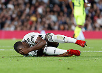 Football - 2018 / 2019 EFL Carabao Cup (League) Cup - Fulham vs. Exeter City<br /> <br /> Neeskens Kebano (Fulham FC) lies injured shortly before being carried off on a stretcher at Craven Cottage.<br /> <br /> COLORSPORT/DANIEL BEARHAM