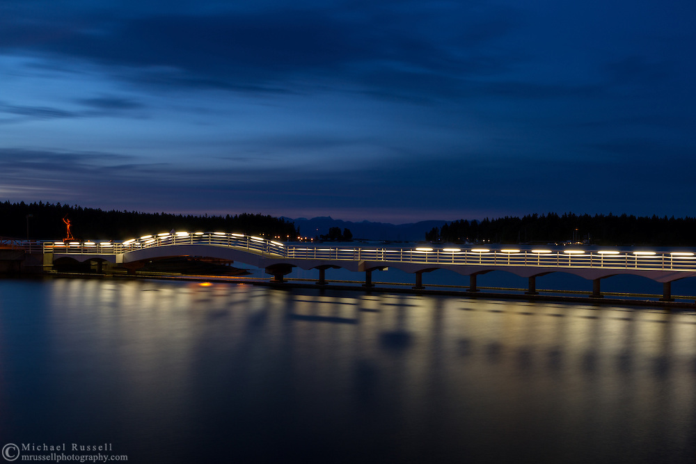 A long exposure at the pedestrian bridge in Maffeo Sutton Park in Nanaimo, British Columbia, Canada