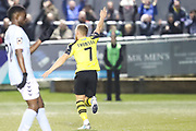 Harrogate Town midfielder George Thomson (7) celebrates after scoring during the Vanarama National League match between FC Halifax Town and Dover Athletic at the Shay, Halifax, United Kingdom on 17 November 2018.