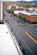 A view down Higgins Avenue in Missoula Montana using a tilt-shift lens. Missoula Photographer, Missoula Photographers, Montana Pictures, Montana Photos, Photos of Montana