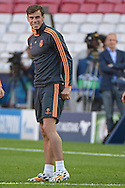 Gareth Bale of Real Madrid pictured during Real Madrid training at Estádio da Luz, Lisbon<br /> Picture by Ian Wadkins/Focus Images Ltd +44 7877 568959<br /> 23/05/2014