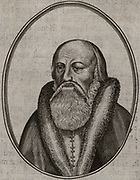 Wolfgang Musculus (Musslin or Meusslin) 1497-1563. German scholar and leader of Protestant Reformation. Professor of theology at Berne, Switzerland.  Engraving.