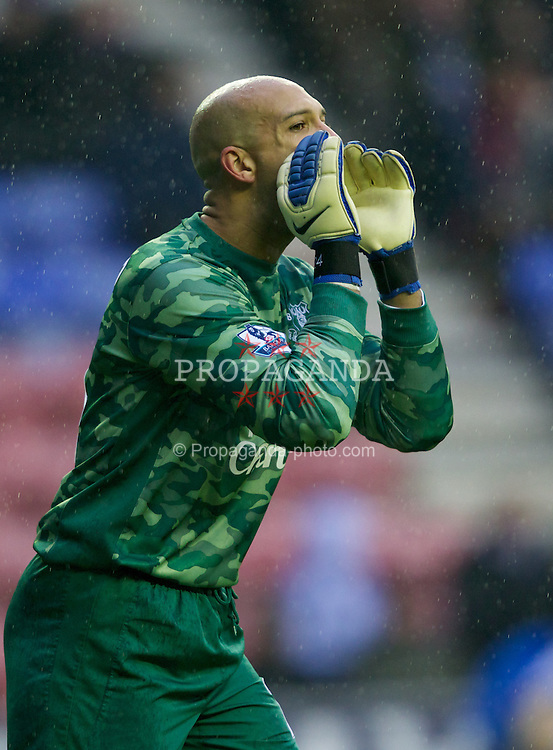 WIGAN, ENGLAND - Saturday, February 4, 2012: Everton's goalkeeper Tim Howard in action against Wigan Athletic during the Premiership match at the JJB Stadium. (Pic by Vegard Grott/Propaganda)