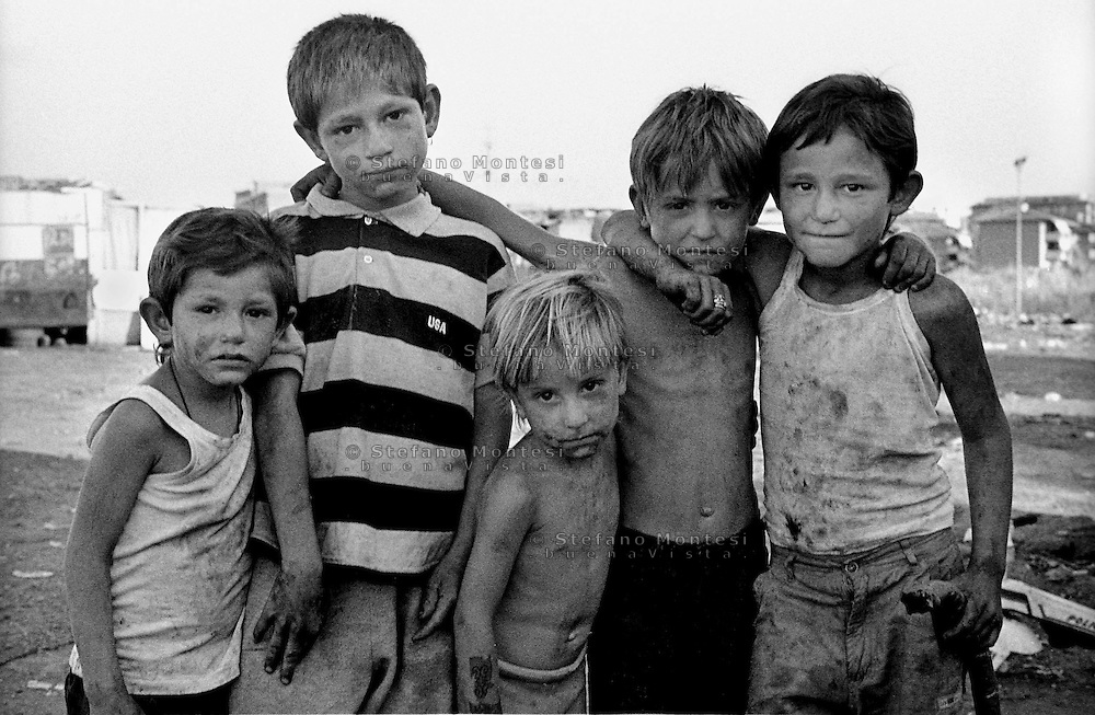 Rome   August 1999.Children romani Bosnian, in the Rom's camp  Casilino 700.