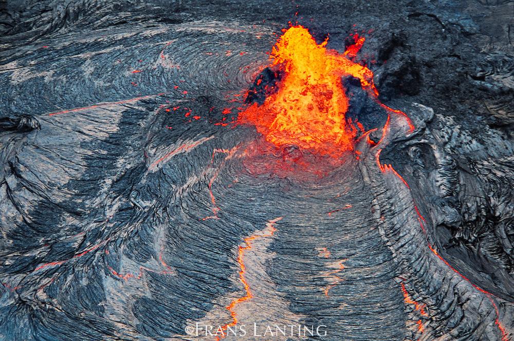 Erupting lava (aerial), Hawaii Volcanoes National Park, Hawaii