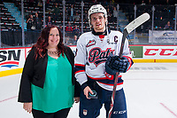 REGINA, SK - MAY 23: Sam Steel #23 of the Regina Pats accepts the first star of the game against the Swift Current Broncos at the Brandt Centre on May 23, 2018 in Regina, Canada. (Photo by Marissa Baecker/CHL Images)