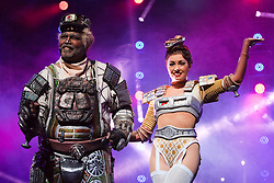 "© Licensed to London News Pictures. 11/05/2012. London, England. Lothair Eaton as Poppa and Camilla Hardy as Buffy. Andrew Lloyd Webber's rock musical ""Starlight Express"" opens at the New Wimbledon Theatre with a new cast before embarking on a UK tour. Choreography by Arlene Phillips. With Kristofer Harding as Rusty, Mykal Rand as Electra, Lothair Eaton as Poppa, Amanda Coutts as Pearl, Ruthie Stephens as Dinah, Kelsey Cobban as Duffy, Camilla Hardy as Buffy and Jamie Capewell as Greaseball. Photo credit: Bettina Strenske/LNP"