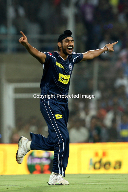 Deccan Chargers Bowler Jaskaran Singh Celebrates  Mumbai Indians Batsman Kieron Pollard Wicket During The Deccan Chargers vs Mumbai Indians, 25th Twenty20 match Indian Premier League- 2009/10 season Played at Dr DY Patil Sports Academy, Mumbai 28 March 2010 - day/night (20-over match)