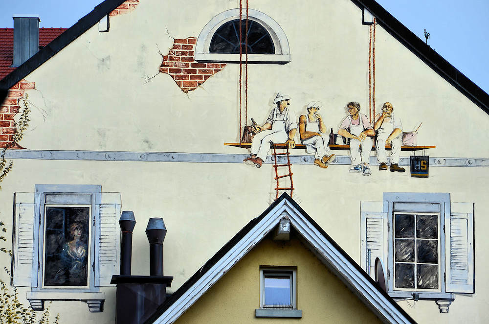 Four Painters Eating Lunch Trompe l&rsquo;oeil Mural in Baden-Baden, Germany<br />