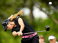 Paula Creamer hits her drive on the 9th hole in Round 2 of the LPGA Michelob ULTRA Open at Kingsmill in Williamsburg, Virginia.