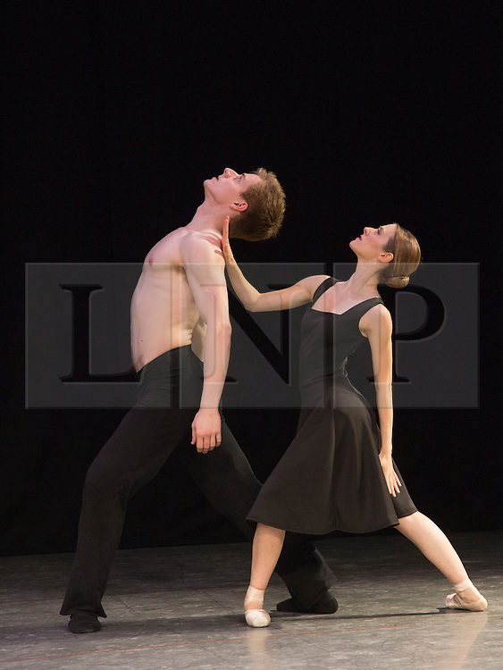 "© Licensed to London News Pictures. 07/08/2015. London, UK. ""Tangents"" performed by Alessia Lugoboni and Paul Oliver. Members of the New English Ballet Theatre rehearse their forthcoming performances for ""Dancing for Nepal"" at the Clore Studio/Royal Opera House. From 20-22 August 2015, the New English Ballet Theatre and special guests will perform at St James Theatre to raise funds for the Nepal earthquake relief effort. Photo credit: Bettina Strenske/LNP"