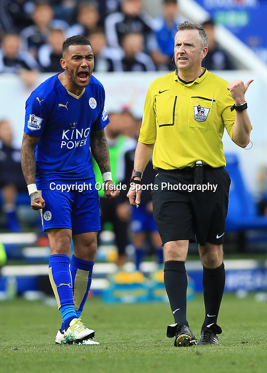 17 April 2016 - Barclays Premier League - Leicester City v West Ham United - Danny Simpson of Leicester City screams at Referee Jon Moss - Photo: Marc Atkins / Offside.