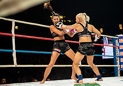Monika Kučinič of Slovenia vs Irene Roggio of Italy (pink) during their WCTS World flyweight Title fight at CFC 5 Fighting event, on October 6, 2019 in Arena Stozice, Ljubljana, Slovenia. Photo by Vid Ponikvar / Sportida