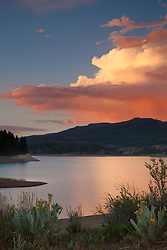 """Sunset at Boca Reservoir 3"" - This colorful cloud and mule ear flowers were photographed during sunset at Boca Reservoir near Truckee, California."