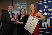 David Hickey, Connacht Tribune Presents Maria Moynihan Lee , Let's do It Galway with her prize for Tourism Marketing award in the Marketing Institute of Ireland West Region's Annual Awards at a gala awards  attended by over 160 people in the Radisson Blu Hotel, Galway along with Emma Dillon Leetch Chairperson of the Marketing Institute.   Photo:Andrew Downes.