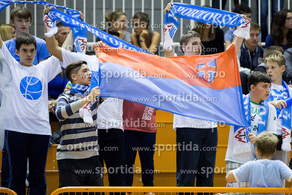 Fans of Portoroz during basketball match between KK Splosna plovba Portoroz and KK Helios Suns in Round 1 of Telemach League 2014/15, on October 11, 2014 in Lucija Sports hall, Portoroz, Slovenia. Photo by Vid Ponikvar / Sportida.com