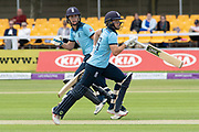 Natalie Sciver & Katherine Brunt during the Royal London Women's One Day International match between England Women Cricket and Australia at the Fischer County Ground, Grace Road, Leicester, United Kingdom on 2 July 2019.