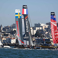Practice session with San Francisco in the background at the America's Cup World Series in San Francisco. Mandatory Credit: Dinno Kovic