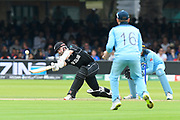Kane Williamson of New Zealand plays an attacking shot off the bowling of Adil Rashid of England during the ICC Cricket World Cup 2019 Final match between New Zealand and England at Lord's Cricket Ground, St John's Wood, United Kingdom on 14 July 2019.