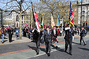 Stepping off at the start of the demonstration in support of Soldier F by former service personnel in Central Manchester on 19 April 2019.