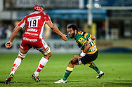 Kahn Fotuali'i of Northampton Saints (right) runs into  Dan Robson of Gloucester Rugby during the Aviva Premiership match at Franklin's Gardens, Northampton<br /> Picture by Andy Kearns/Focus Images Ltd 0781 864 4264<br /> 05/09/2014