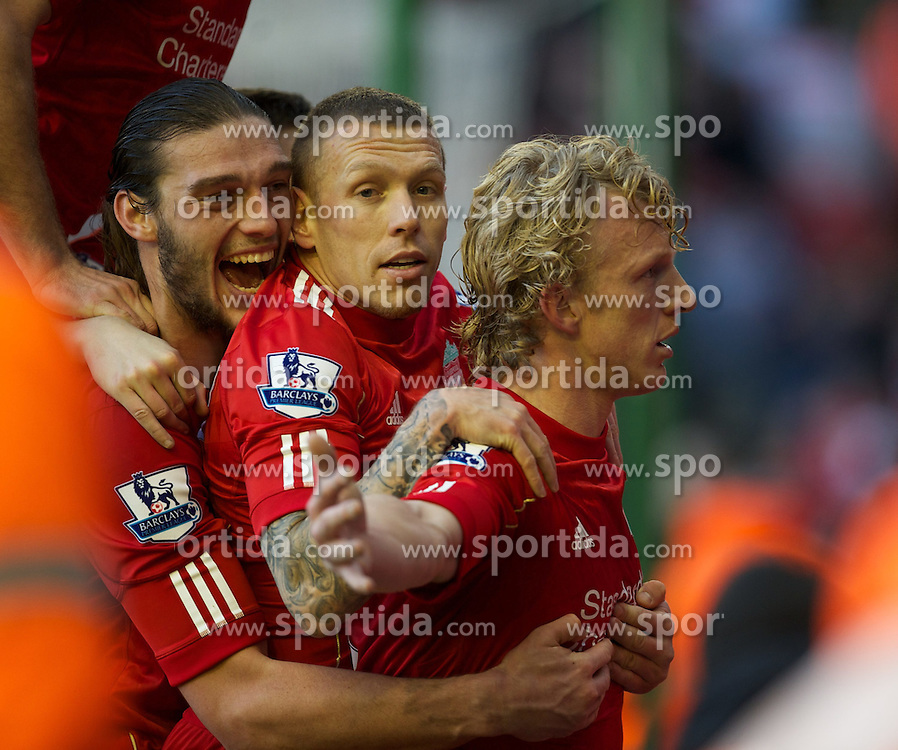 28.01.2012, Anfield, Liverpool, ENG, FA CUP, Liverpool FC vs Manchester United, im Bild Liverpool's match-winner Dirk Kuyt celebrates scoring the second goal against against Manchester United during the football match of the english FA CUP, between Liverpool FC and Manchester United, at the Anfield Stadium, Liverpool, England on 2012/01/28. EXPA Pictures © 2012, PhotoCredit: EXPA/ Propagandaphoto/ David Rawcliff..***** ATTENTION - OUT OF ENG, GBR, UK *****