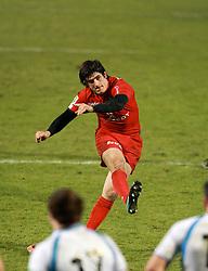 David Skrela converts a try for Toulouse. Stade Toulousain v Glasgow Warriors, Heineken Cup, Stade Ernest Wallon, Toulouse, France, 21st December 2010.