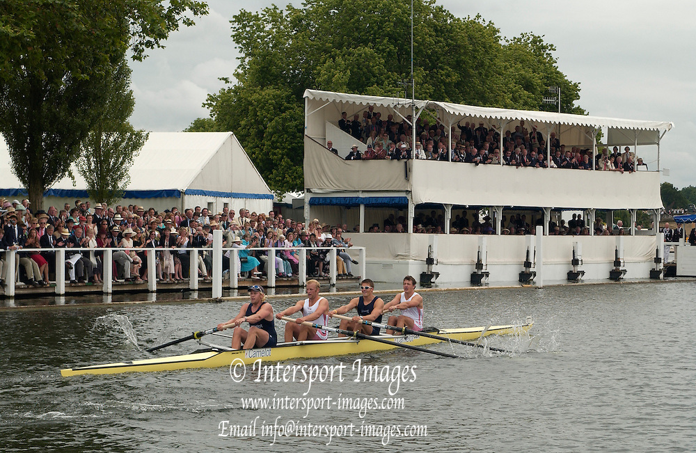 2005 Henley Royal Regatta, Henley on Thames, ENGLAND. 03.07.205  .Sunday Finals day - second session,  Leander and Oxford University [GRB M4-] rowing through the Stewards enclosure, as they win the final of the 'Stewards Challenge Cup'  left to right Andy Twiggs-Hodge, Alex Partridge, Peter Reed and Steve Williams ,Peter Spurrier.   .email images@intersport-images.[Mandatory Credit Peter Spurrier/ Intersport Images] . HRR.