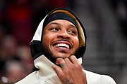 Carmelo Anthony of the Portland Trail Blazers is all smiles during the second half of the game against the Washington Wizards at the Moda Center on March 04, 2020 in Portland, Oregon.