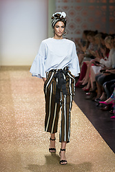 July 3, 2018 - Berlin, Germany - U.S. Model Talia Graf runs the runway during the Marc Cain Spring/Summer 2019 Fashion Show at Westhafen in Berlin, Germany on July 3, 2018. (Credit Image: © Emmanuele Contini/NurPhoto via ZUMA Press)