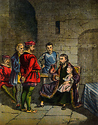 Lawrence or Laurence Saunders d1555), English Protestant martyr, burned for heretical views on transubstantiation, Coventry 8 February 1555. His child brought to visit him in prison. The heresy was that he did not believe that the bread and wine was transformed into the body and blood of Christ when taken at Eucharist (Communion). Chromolithograph from a mid-19th century edition of 'Foxe's Book of Martyrs'.