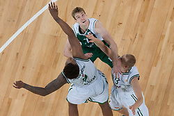 Zoran Dragic of Krka & Sasu Salin and Deon Thompson of Union Olimpija during basketball match between KK Union Olimpija and KK Krka in 4nd Final match of Telemach Slovenian Champion League 2011/12, on May 24, 2012 in Arena Stozice, Ljubljana, Slovenia. Krka defeated Union Olimpija 65-55. (Photo by Grega Valancic / Sportida.com)