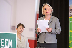 © Licensed to London News Pictures. 2/6/2017 SHEFFIELD   , UK.  <br /> The Green Party at the  Broomhall Centre in Sheffield today (Friday 2nd June 2017) for their general election campaign. The party's co-leader Caroline Lucas and former leader, Natalie Bennett (right) spoke defending migrants' contribution to Britain and pledge their support for continued free movement within Europe. Caroline Lucas spoke yesterday to condemn Donal Trump's decision to pull out of the Paris climate agreement.<br />   <br /> Photo credit: CHRIS BULL/LNP