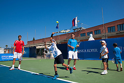 Blaz Rola of Slovenia and Gregor Krusic at Kids day during Day Five of tennis tournament ATP Challenger Tilia Slovenia Open 2013 on July 6, 2013 in SRC Marina, Portoroz / Portorose, Slovenia. (Photo by Vid Ponikvar / Sportida.com)