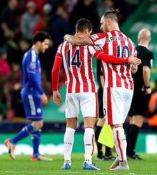 Marko Arnautovic and Ibrahim Afellay of Stoke City celebrate victory at full time  - Mandatory byline: Matt McNulty/JMP - 07966 386802 - 07/11/2015 - FOOTBALL - Britannia Stadium - Stoke-On-Trent, England - Stoke City v Chelsea - Barclays Premier League